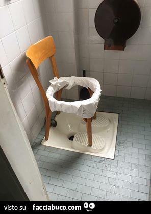 Sedia bucata sopra bagno turco. Cesso fai da te - Facciabuco.com