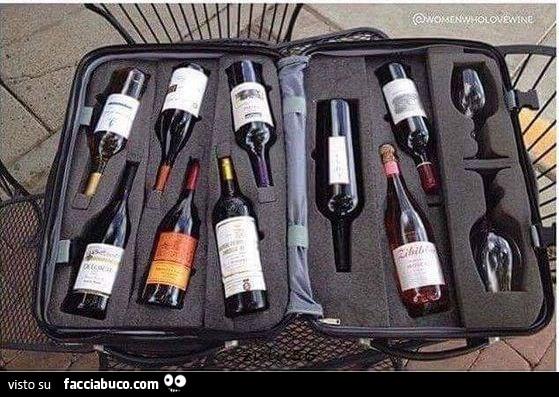 Valigia porta bottiglie di vino e bicchieri for Porta bottiglie vino