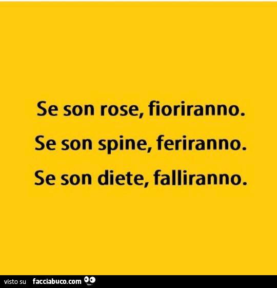 Se Son Rose Fioriranno Se Son Spine Feriranno Se Son Diete Falliranno Facciabuco Com